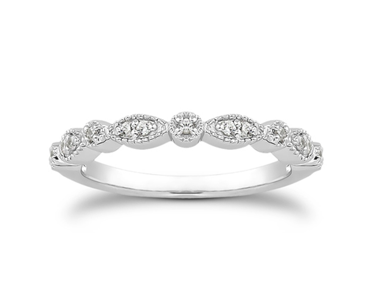 Fancy Pave Diamond Milgrain Wedding Ring Band In 14k White
