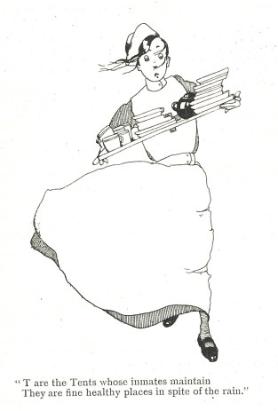 Illustration of a nurse rushed off her feet! From Joyce Dennys' book 'Our Hosital ABC, Anzac British Canadian' (reviewed in the December 1926 issue of Nursing Notes, page 251)