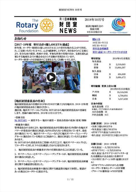 財団室NEWS 2018年10月号