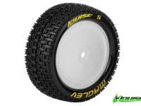 Louise RC – E-MAGLEV – 1-10 Buggy Banden Set – Verlijmd op velg – Super Soft – Velgen Wit – Kyosho – Zeskant 12mm – 4WD – Voor – 1 Paar