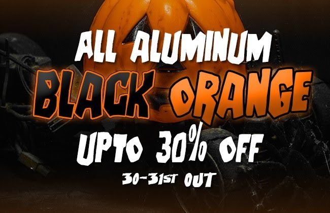 ATees Halloween Sale on Black & Orange Aluminum Upgrades