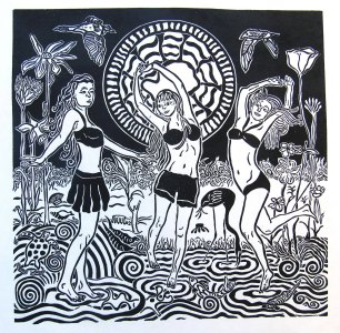 JBare-10.-Water-Muses-Dance-lino-cut-print-12-x12-inches-Framed-18-x18-inches-185-