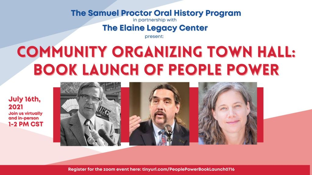 Promo graphic for Community Organizing Town Hall Book Launch of People Power