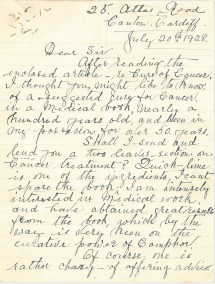 Letter sent to Blair-Bell during his cancer research trials in the late 1920s.