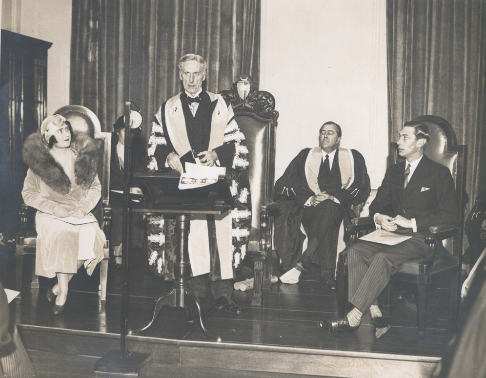 This photograph shows the Duchess of York opening the College's former headquarters at Queen Anne Street, London, with College President William Blair Bell (standing) and the Duke of York (seated) in December 1932. The Duchess became an Honorary Fellow of the College in 1949 and was followed by her daughters, Elizabeth and Margaret, who became Honorary Fellows in 1951 and 1952 respectively.