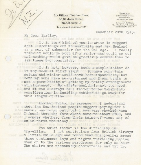 A letter from Fletcher Shaw to Eardley Holland (1945) provisionally agreeing to visit Australia and New Zealand. Fletcher Shaw had concerns about his wife's health and the cost of the journey, especially considering most ships were still under military control.