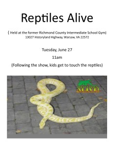 Summer Reading Event 1: Reptiles Alive! @ Former Richmond County Intermediate School Gym