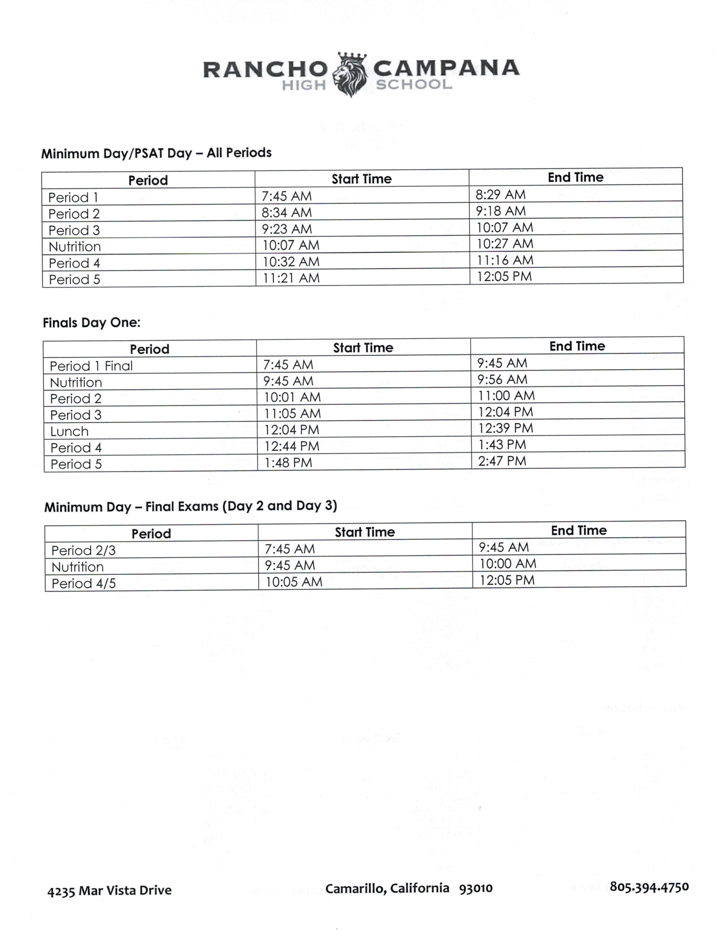 2017 – 2018 School Calendar and Bell Schedules