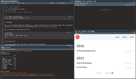 This is what your RStudio window should look like after creating a new site.