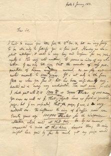 Johann Friedrich Meckel to John Thomson, Jan 1821 (RCSEd 9/1/1/1/1)