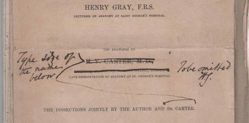 Title page of Gray's Anatomy proof (1858) RCSED