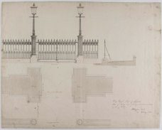 Plan of railing and gateway and elevation and section of part of railing (RCSEd8/2/2/77)