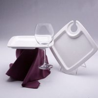 Square Cocktail Plate with Wine Glass Holder