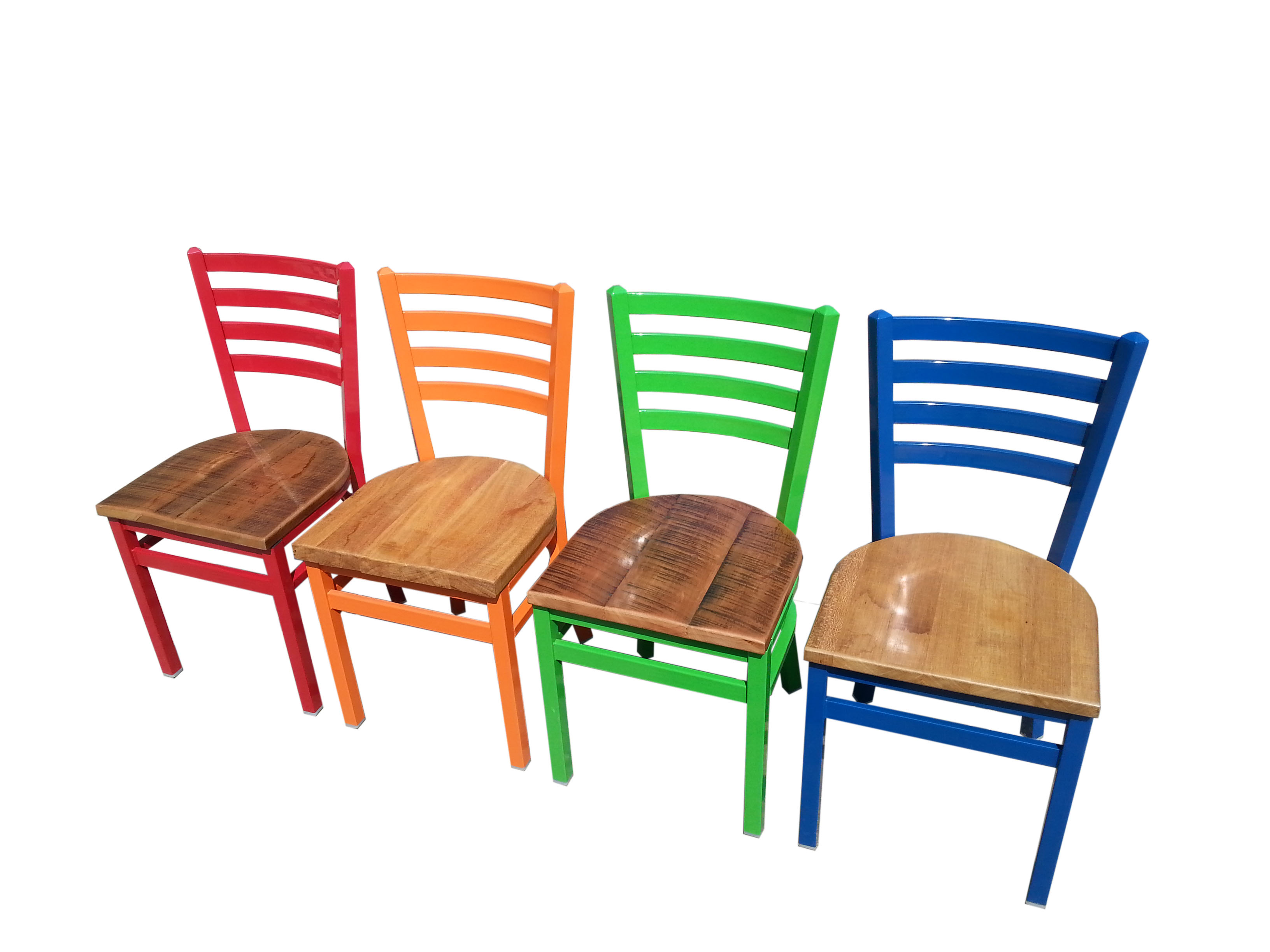 Colorful Wooden Chairs Industrial Ladderback Chair Restaurant And Cafe Supplies