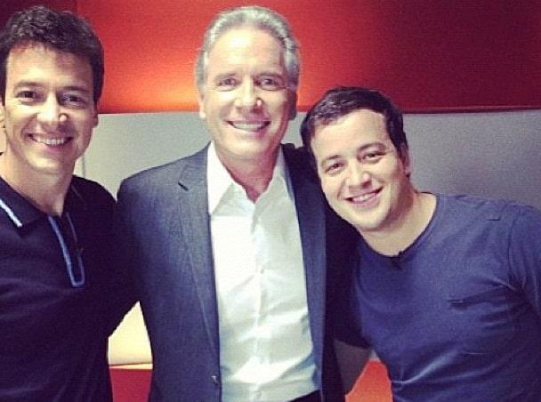 Rodrigo Faro, Roberto Justos e Rafael Cortez gravam chamada da Record