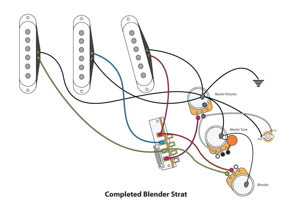 electric guitar wiring diagram one pickup vw polo alternator blender strat mod