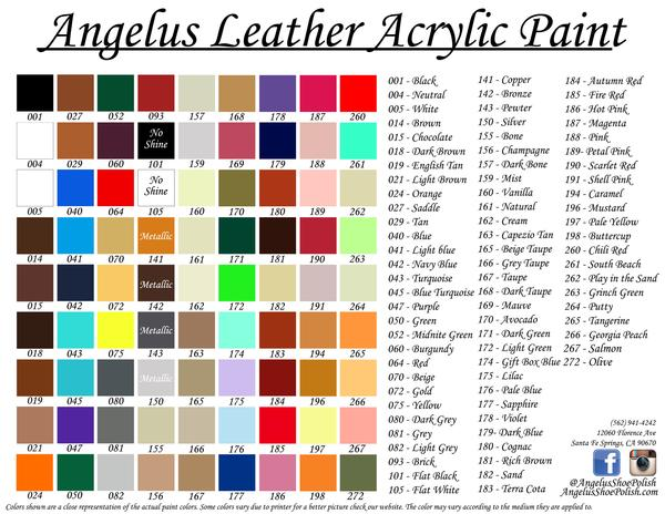 Angelus Paint Color Chart Image Collections Different Types Of