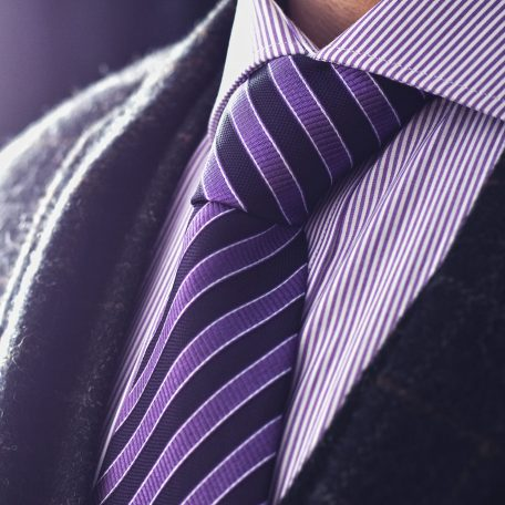 Formal gentlemen's silk handmade striped purple tie