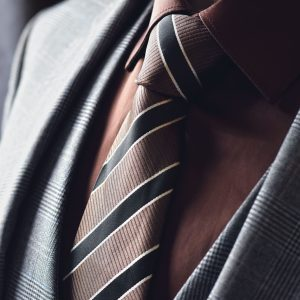 Brown silk striped necktie