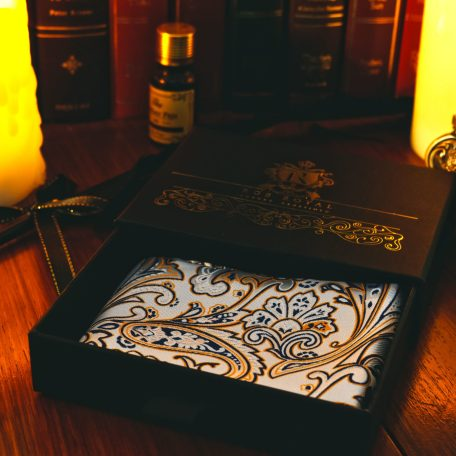 White and gold paisley men's silk pocket square handkerchief