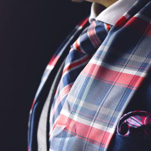 Silk men's elegant formal silk and wool plaid checked scarf meant for wearing with a suit