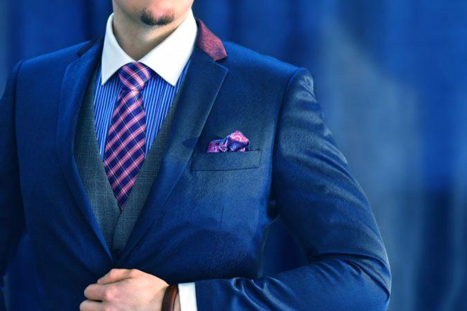 Ružovo Modrá Hodvábna Pásikavá Pánska Kravata