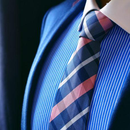 Luxusná Hodvábna Kravata. Modro Ružová.
