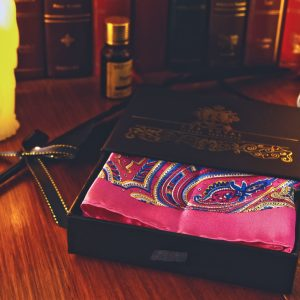 Paisley pink pocket square with contrast edges