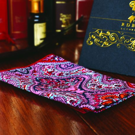 Men's delicate paisley colorful pocket square