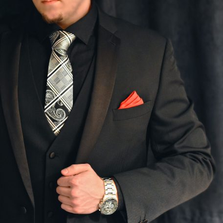 Elegant silver necktie, plaid and paisley pattern for men