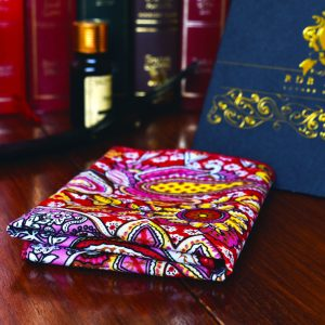 Red and yellow paisley pocket square handkerchief