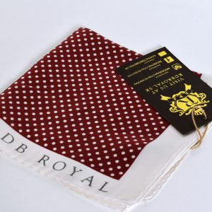 Polka dot burgundy red and white pocket square with contrast edges