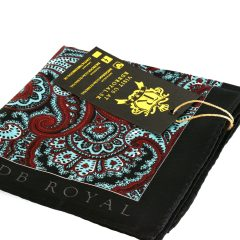 Black, red and turquoise pocket square with black contrasting edges by RDB Royal made from silk
