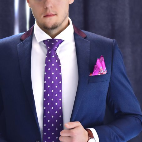 Purple luxury polka dot necktie