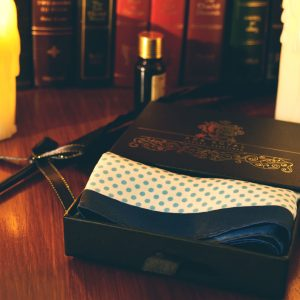 Blue contrasting polka dot pocket square handkerchief PURE LUXURY COLLECTION