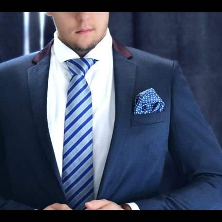 Blue and pink striped luxury silk necktie by RDB Royal