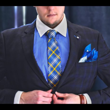 Blue and Yellow checked rdb royal luxury necktie