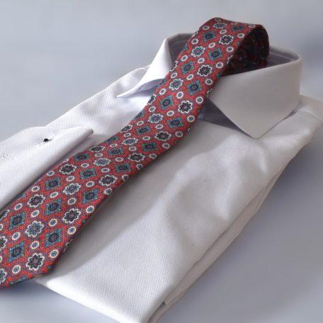 Prémiová červená foulard bavlnená slim kravata