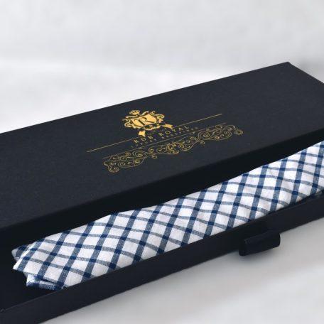 Prémiová bielo modrá bavlnená kravata kockovaného vzoru RDB Royal