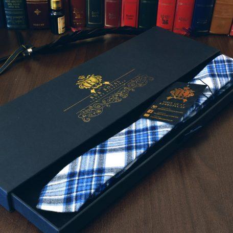 Luxusná bavlnená kravata modrej farby kockovaného vzoru