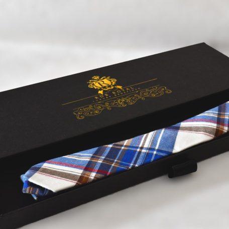 Prémiová červeno modrá bavlnená kravata kockovaného vzoru RDB Royal
