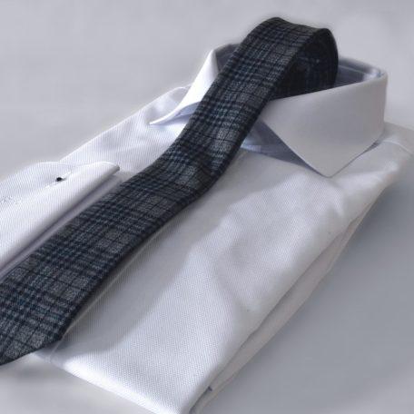 Prémiová šedá bavlnená kravata kockovaného vzoru RDB Royal