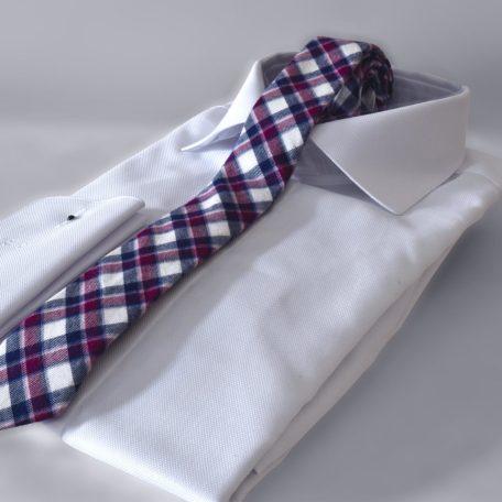 Prémiová vínovo modrá bavlnená kravata kockovaného vzoru RDB Royal