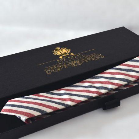 Prémiová vínovo červeno modrá kravata pásikavého vzoru RDB Royal