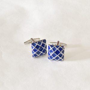 modro strieborné manžetové gombíky diamantový vzoru