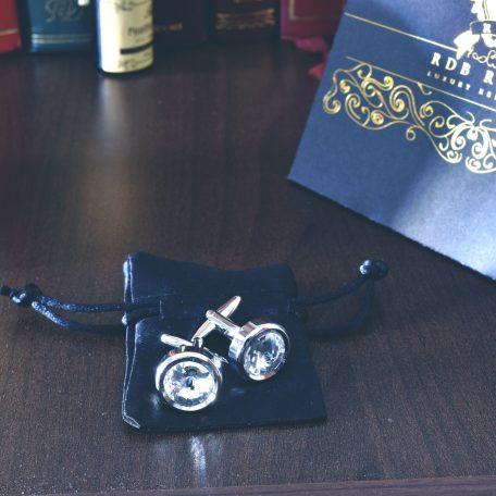 Strieborné číré manžetové gombíky swarovski crystal