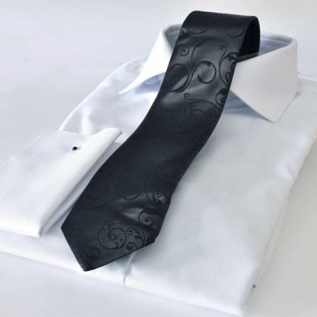 Luxusná paisley čierna hodvábna kravata s vlnenou podšívkou