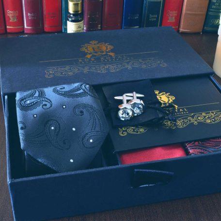 hodvábny pánsky luxusný darčekový čierno červený paisley set