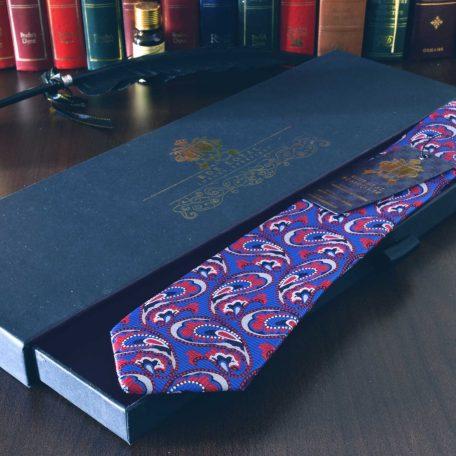 Modro červená hodvábna paisley kravata