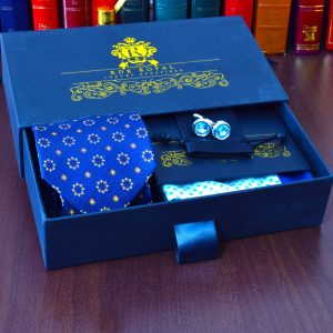 Luxusný pánsy hodvábny modrý foulard floral darčekový set Pure Luxury Collection